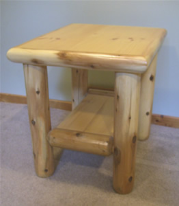Log End Table With Trim And Shelf 180 00 Rox
